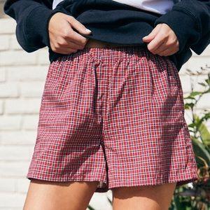 Brandy Melville Logan Red Plaid Shorts NWOT
